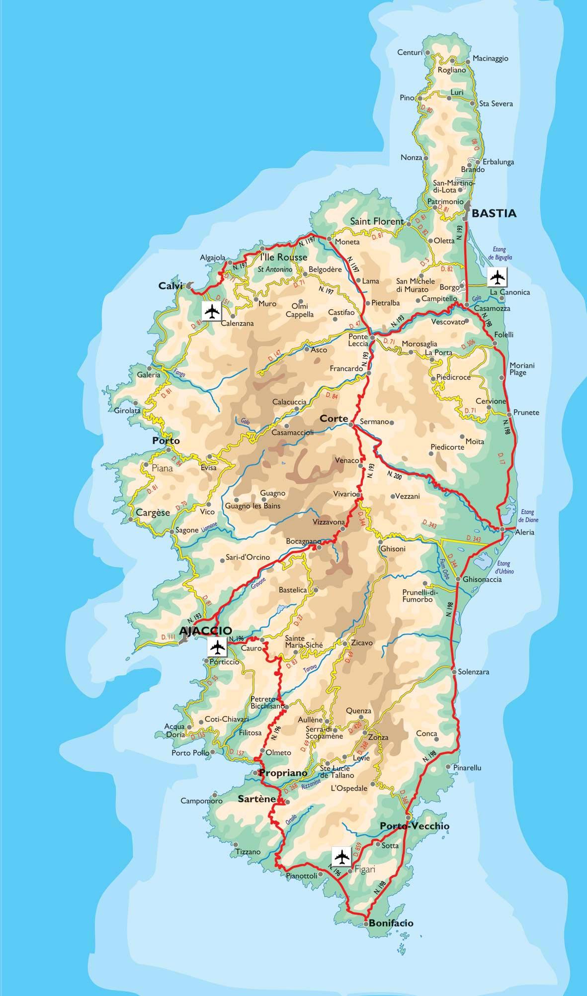Carte de la Corse avec les routes départementales et les nationales