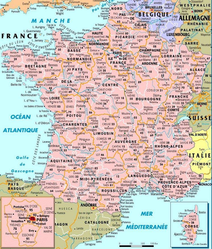 carte des villes de france detaillee