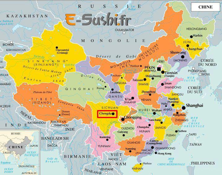 Carte des villes de Chine avec provinces