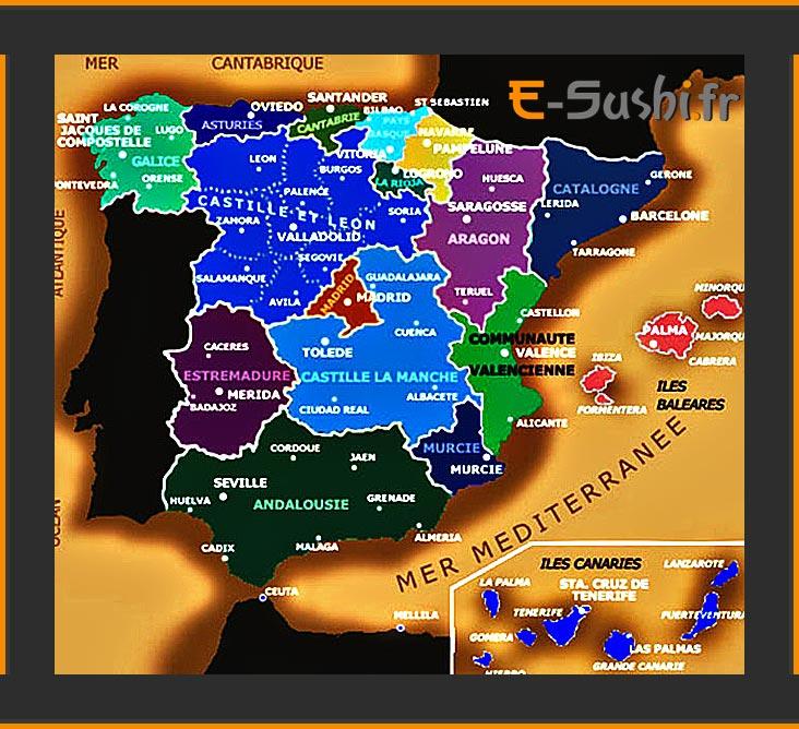 Carte des Villes principales en Espagne