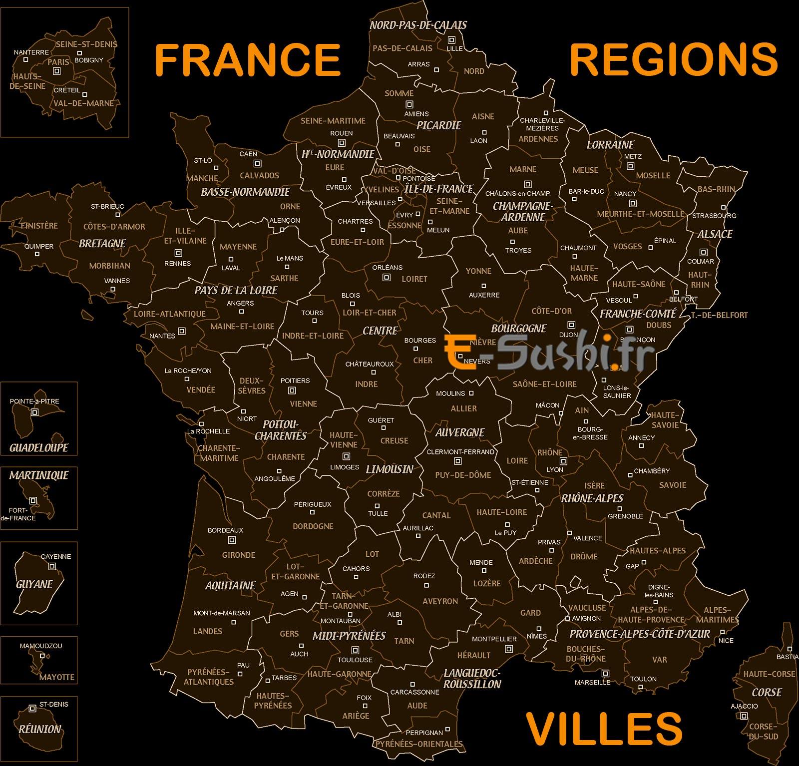 La France - Carte des régions et villes
