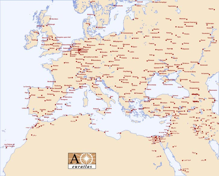 carte des villes en europe détaillée