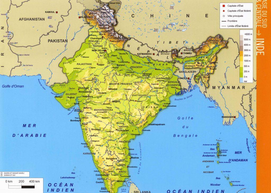 Carte du relief - Inde