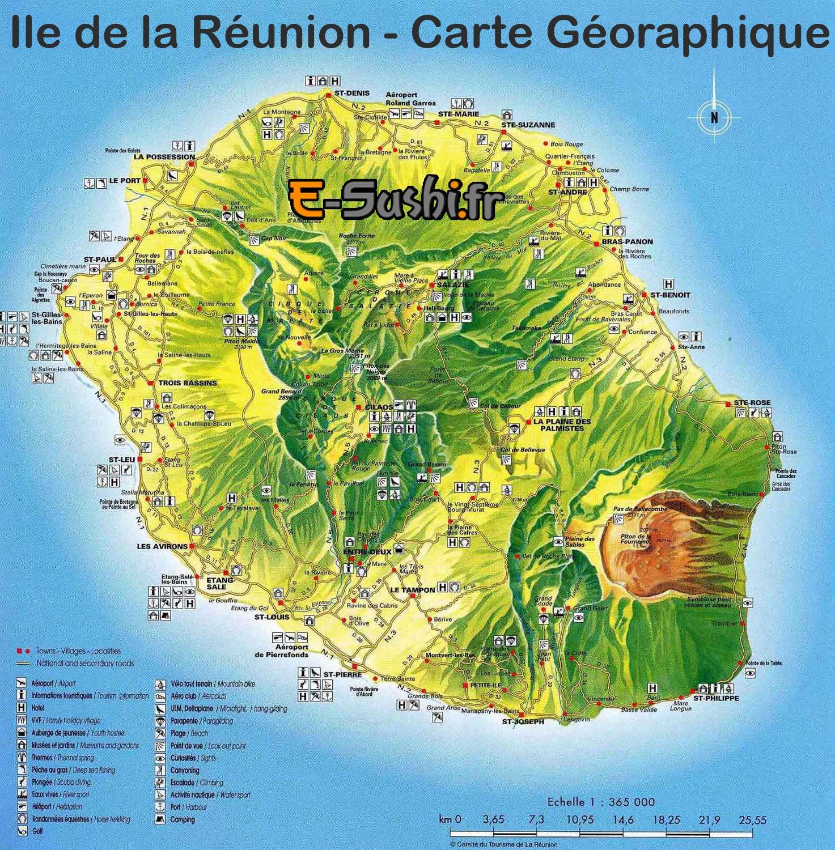 ile de La Reunion - Carte détaillée