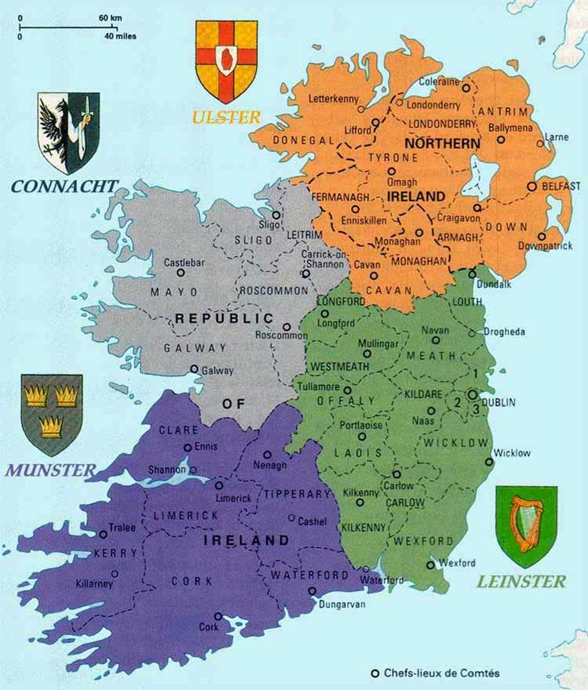 Irlande Map - Voyage au Sud Vacances au Nord