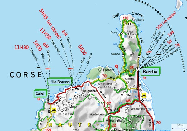 Le nord de la Corse - Carte