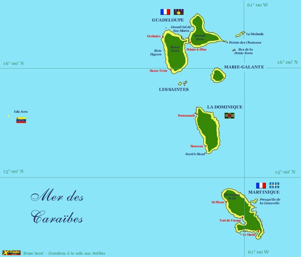 carte martinique guadeloupe
