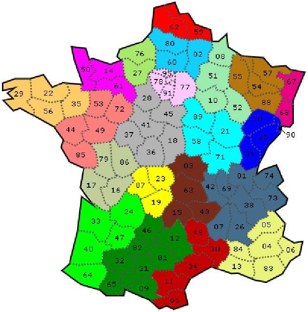 Numéros des départements français
