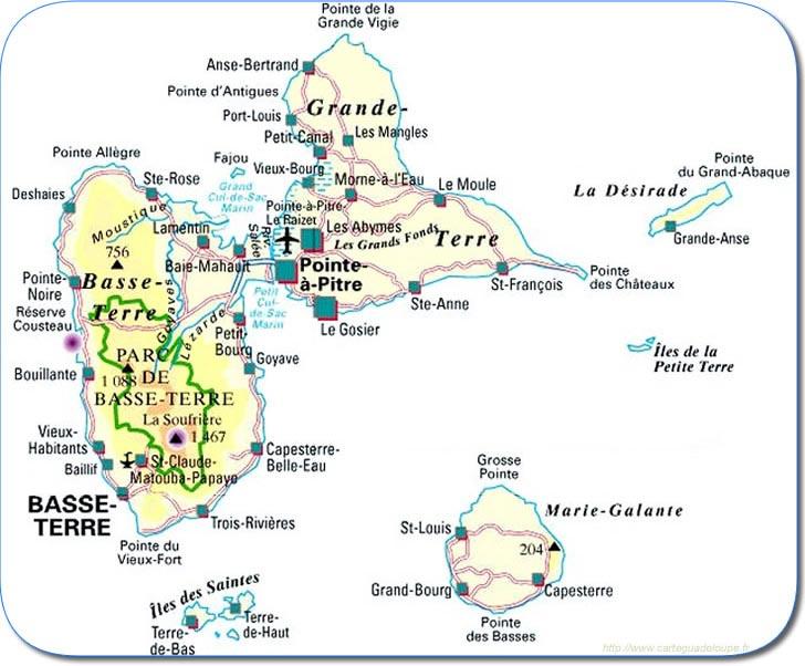 Plan des régions guadeloupéennes