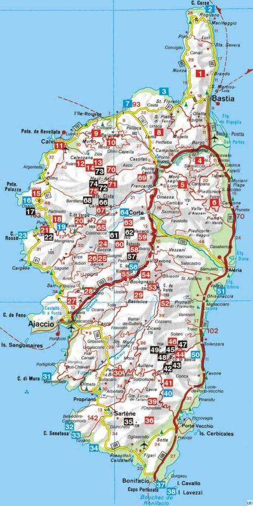 Carte - Randonnée en Corse