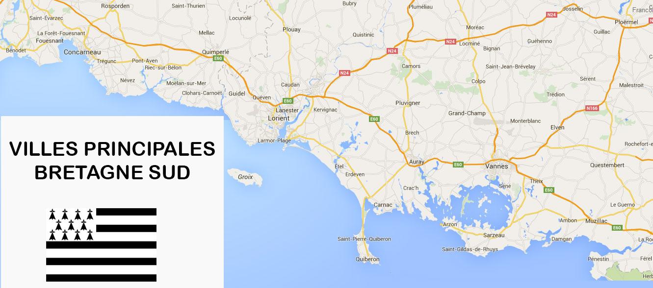 Villes du sud e la Bretagne