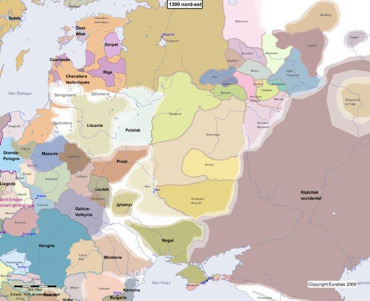 Carte d'Europe 1300 nord-est