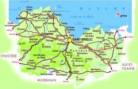 Carte itinéraire de bretagne nord