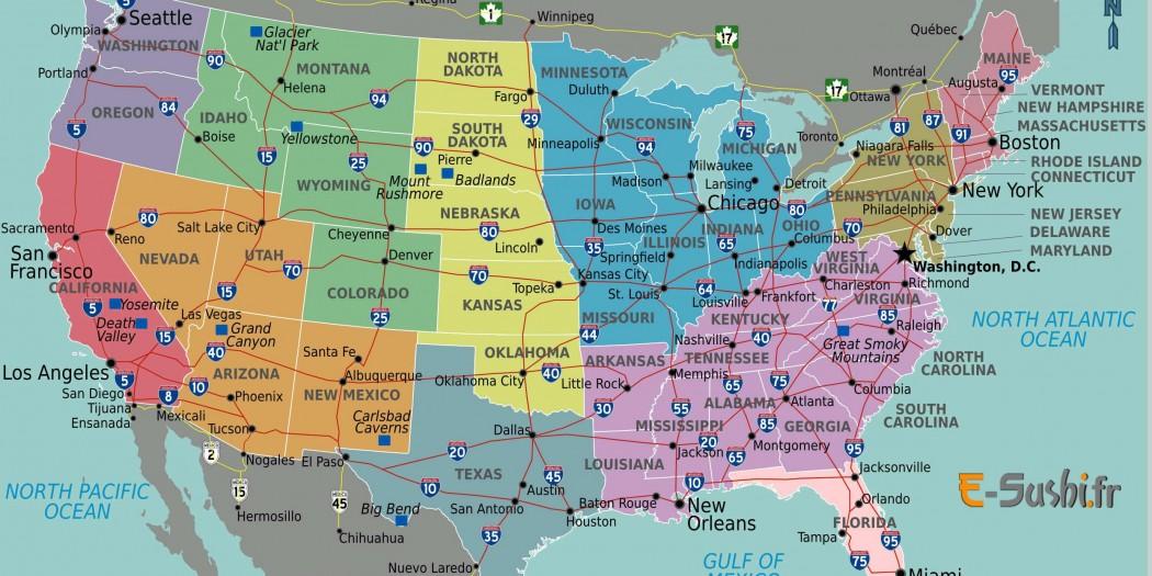 Carte Etats-Unis