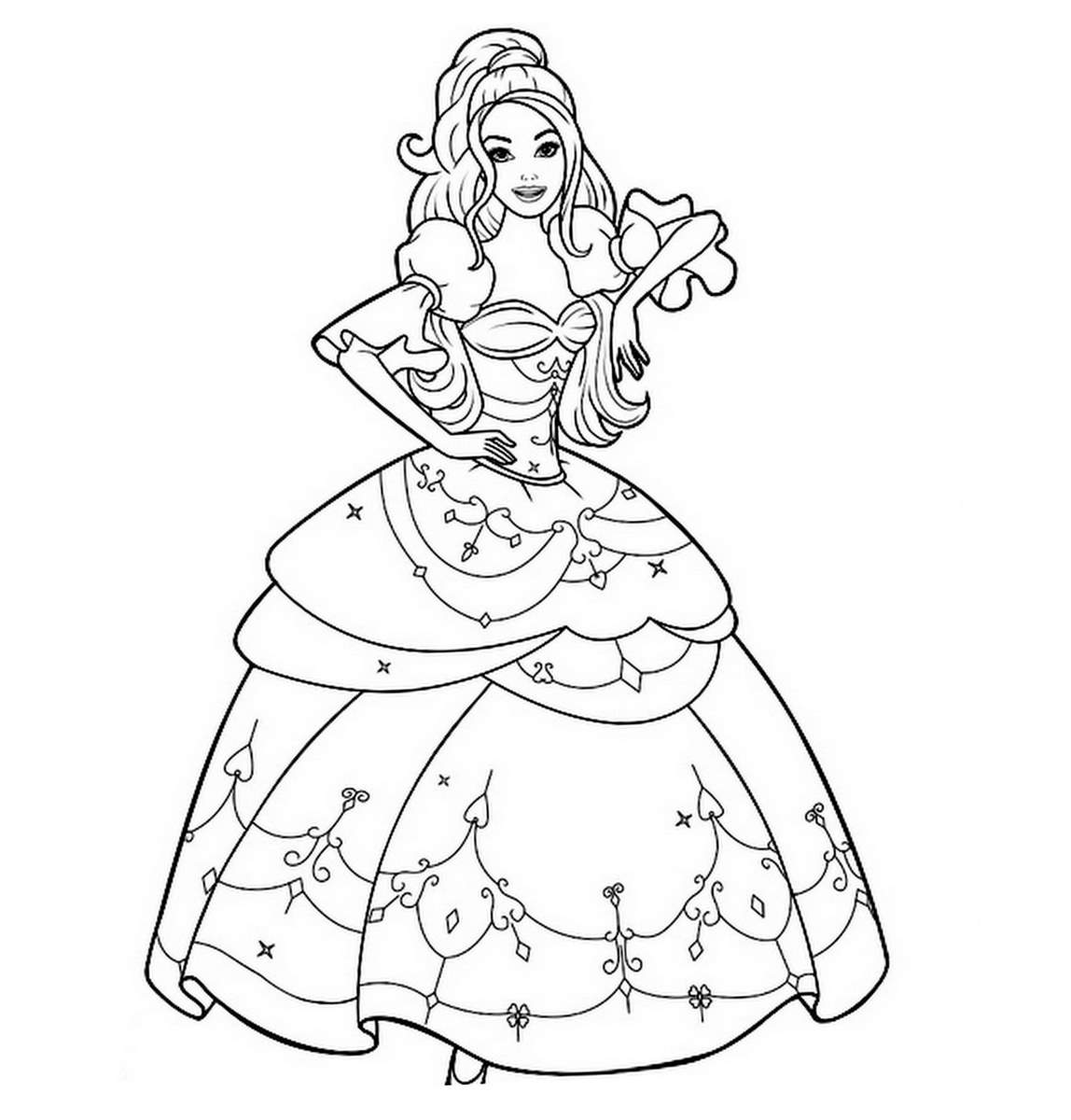 Coloriage princesse image et dessins arts et voyages - Barbie a colorier ...