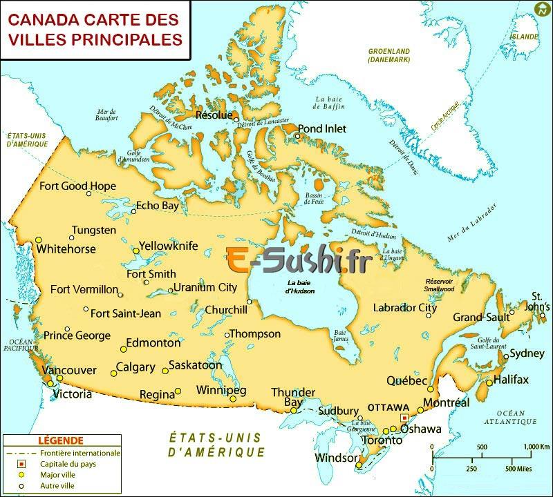 Canada - Carte des Villes