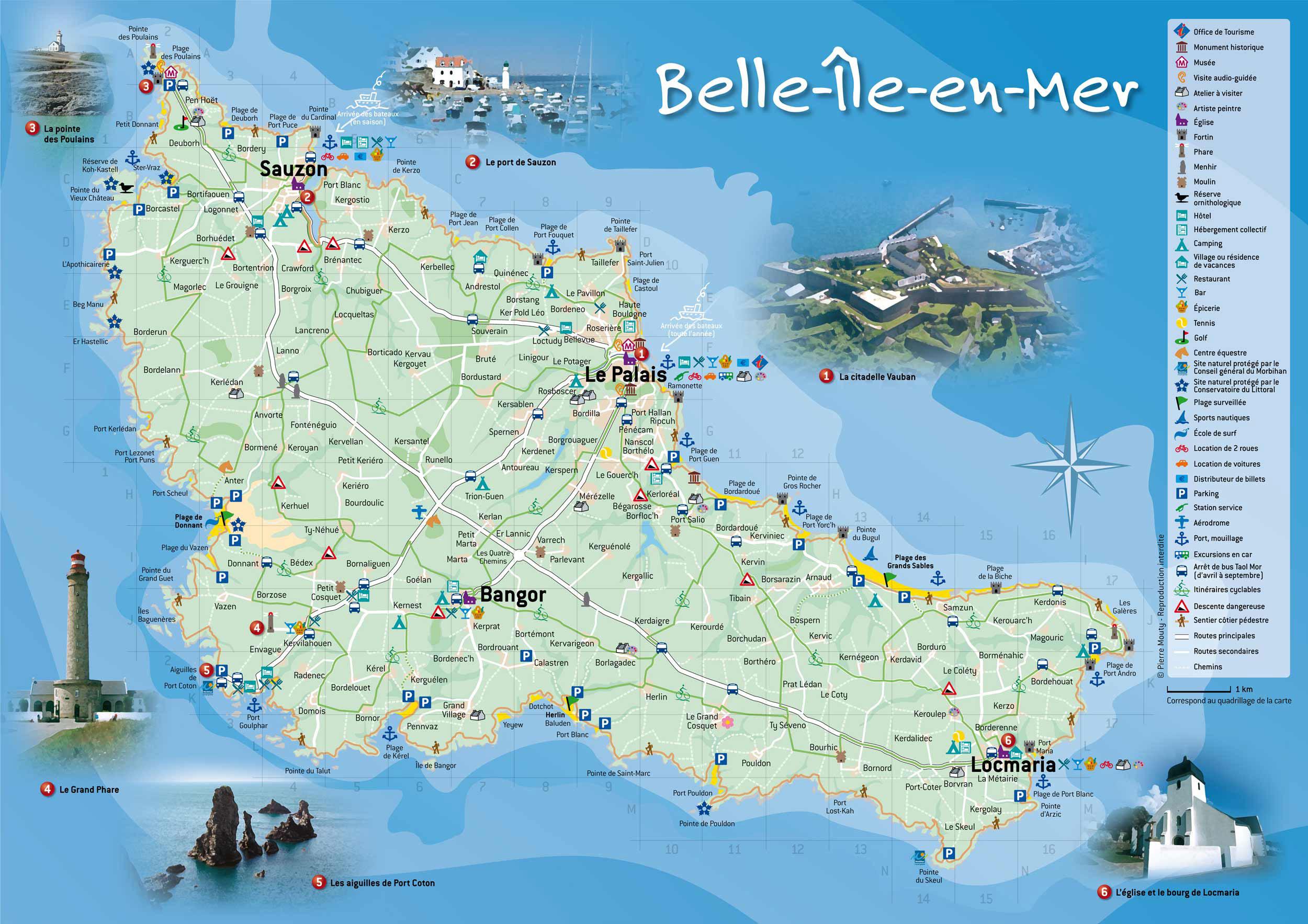 Carte belle ile en mer - département du Morbihan en Bretagne du sud