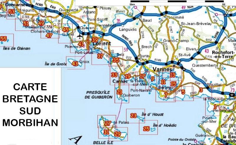 carte bretagne - sud morbihan