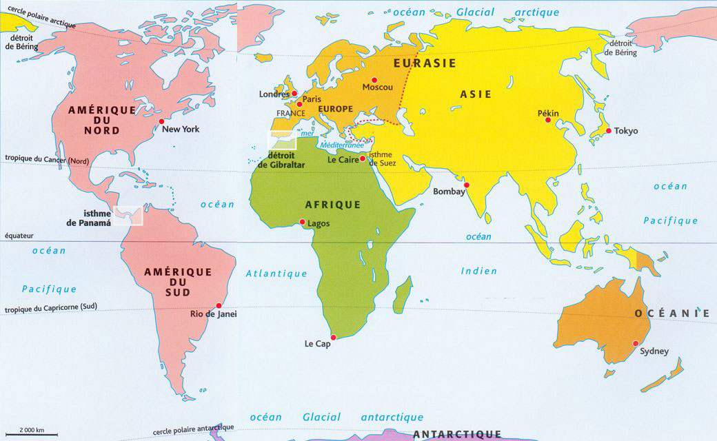 continents carte du monde - Photo