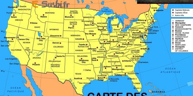 Cartes des Etats Unis avec villes et noms des états