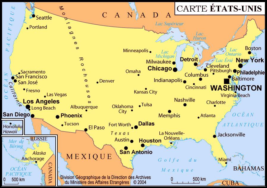 Carte états unis - villes principales