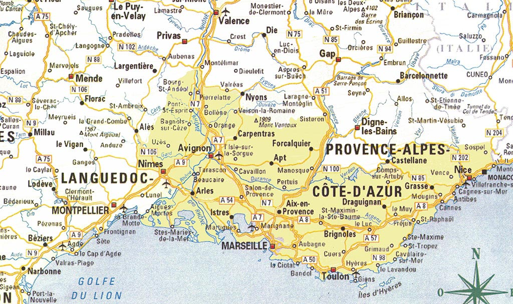 carte de france sud est - Photo