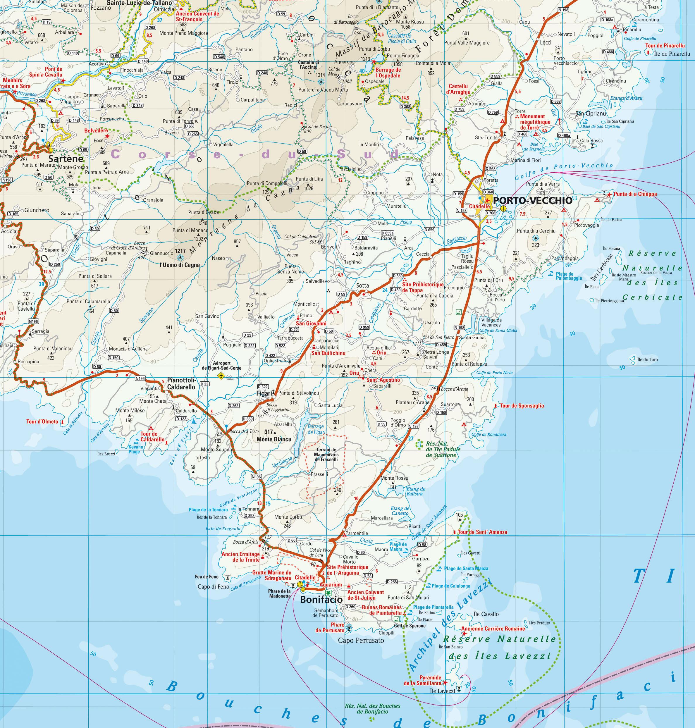 Bekannt Carte de Corse Touristique | Arts et Voyages ZT95