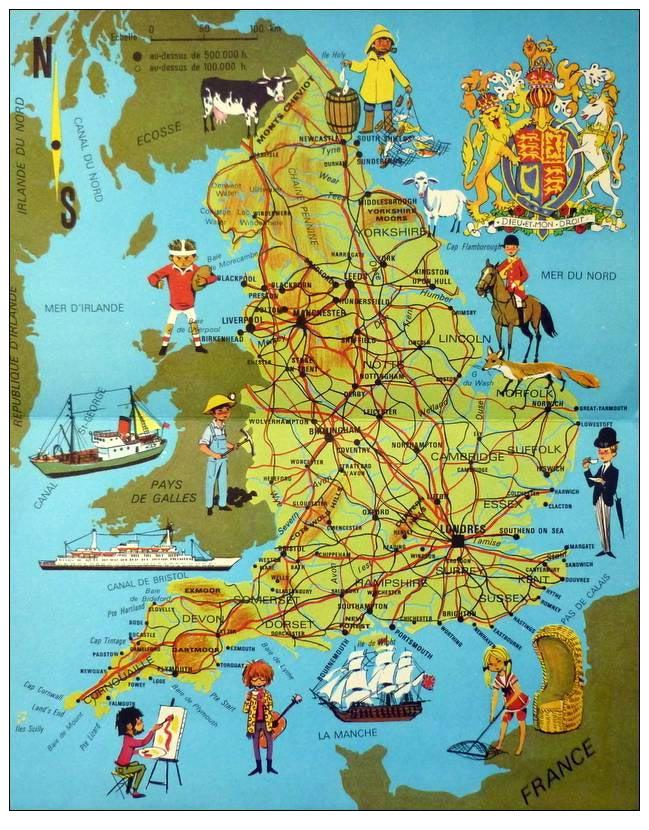 Carte des régions touristiques - Géographie de l'Angleterre