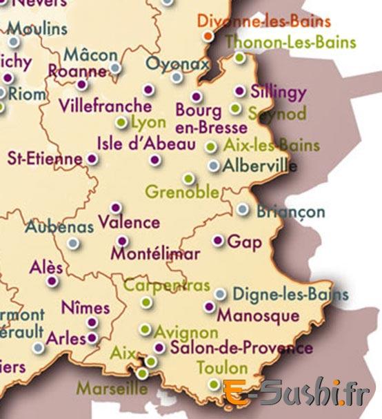 Carte des villes du Sud de la France