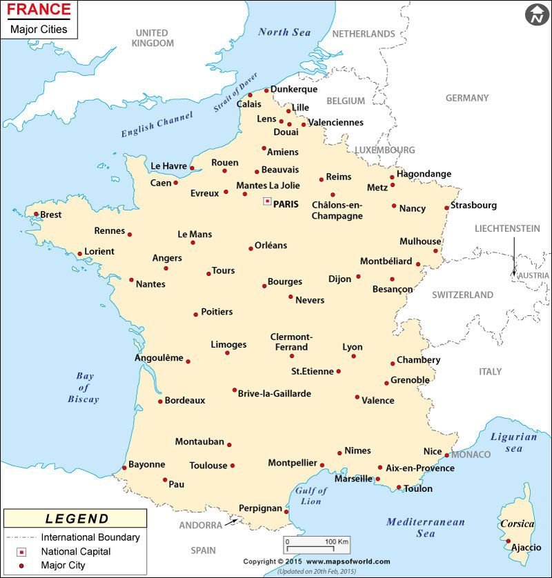France Cities Map