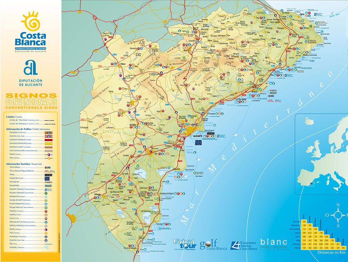carte costa blanca - méditerranée espagnole - MAP