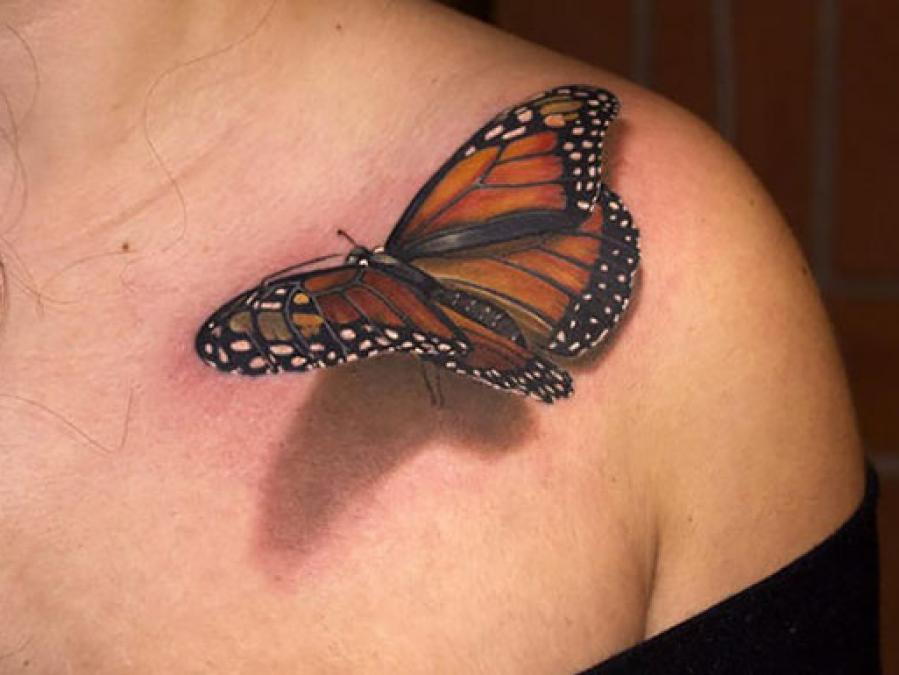 Illusion d'optique et tatouage d'un papillon