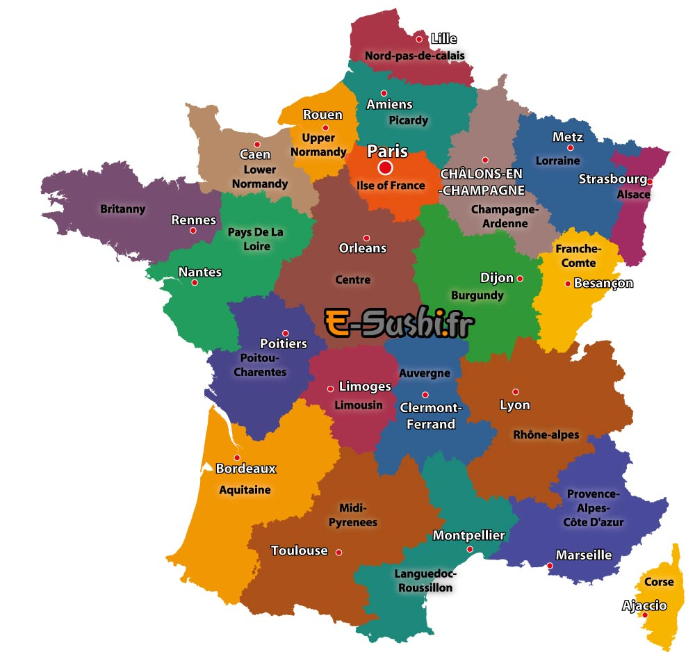 Map - regions and towns in France