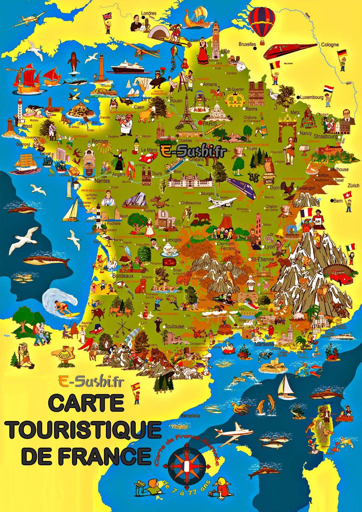 Carte de France touristique illustrée - Arts et Voyages