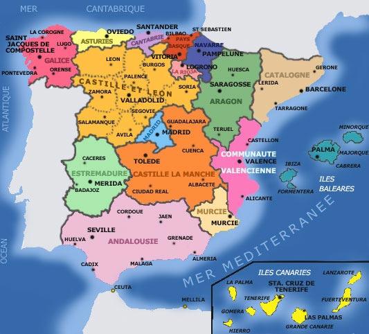 Carte Espagne - villes