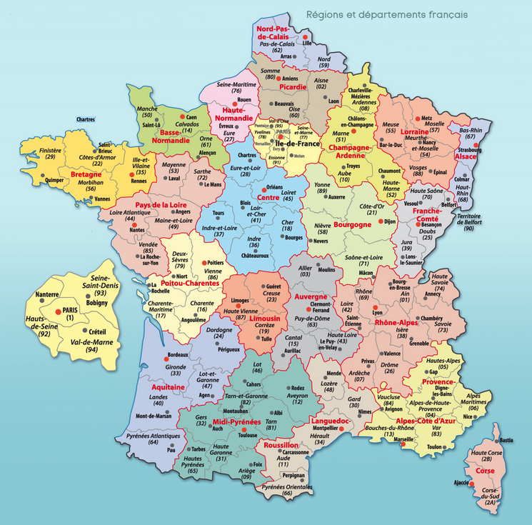 Carte départements de France