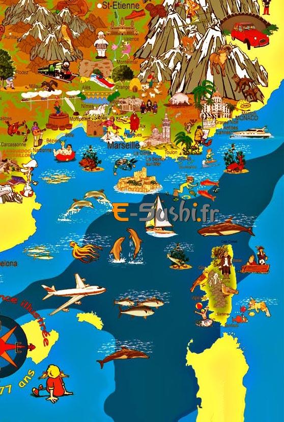 Carte France touristique S-E