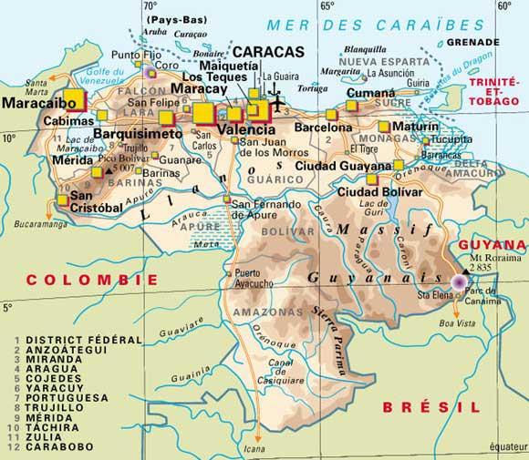 Carte géographique du Vénézuéla
