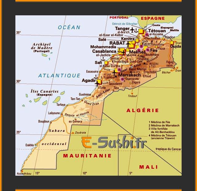 Carte du Maroc - Villes