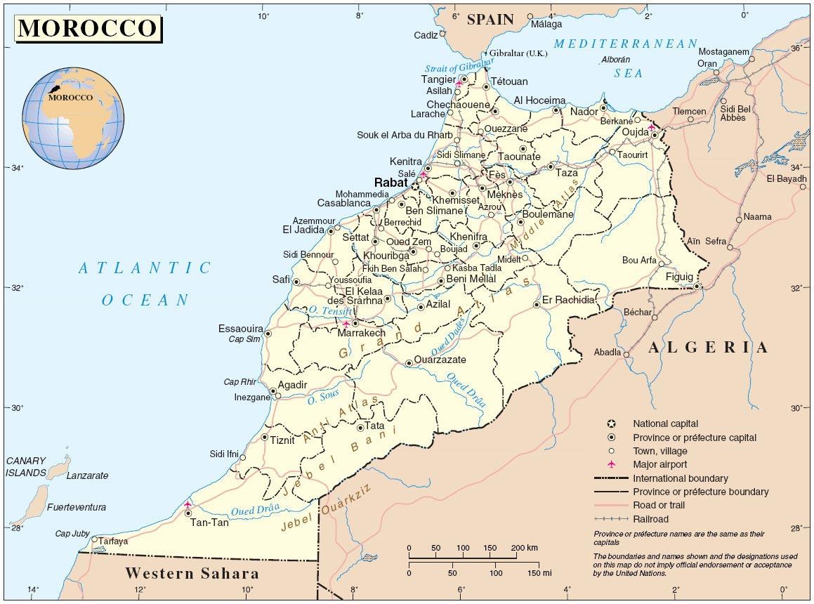 Carte du Maroc avec villes
