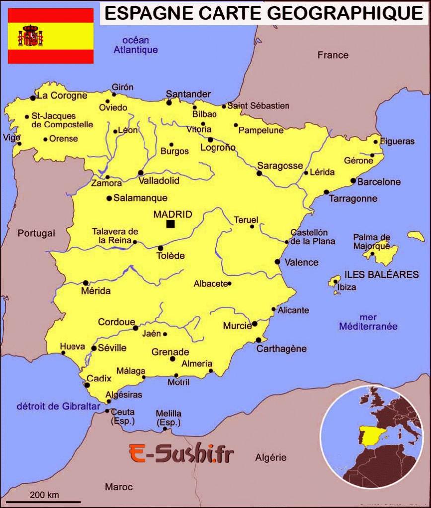 Villes de la carte géographiques de la Carte-Espagne