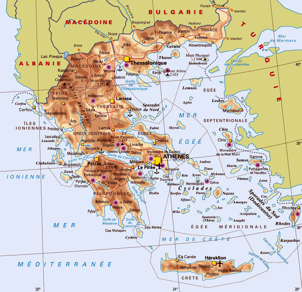 carte générale de la Grèce