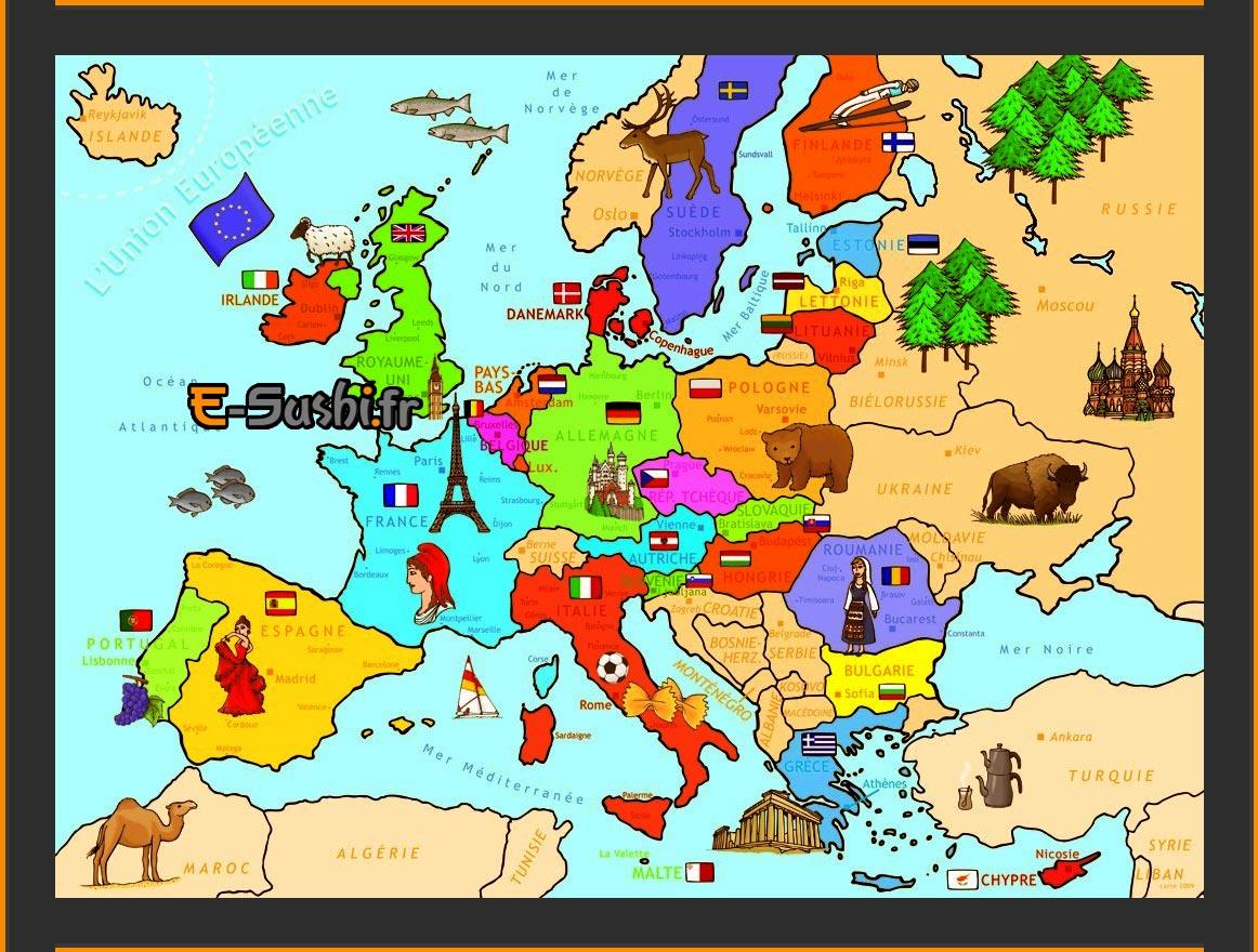 Carte Europe - Symboles des Pays