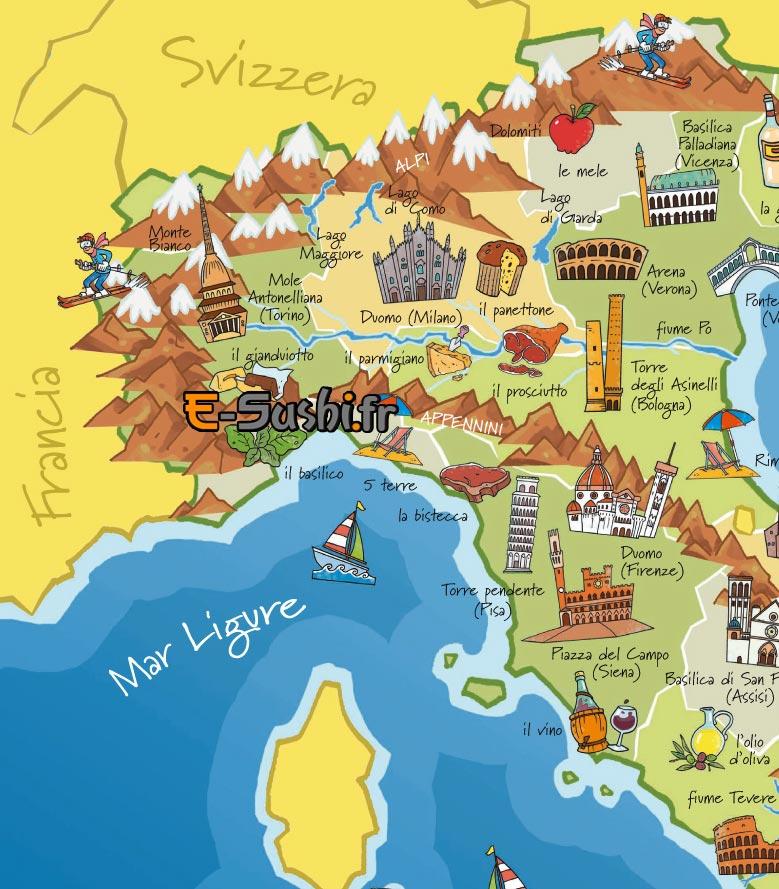 Italie du nord carte touristique   passions photos