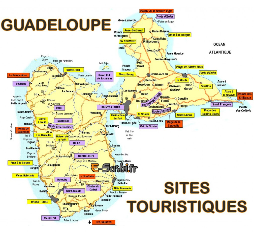 carte-de-la-guadeloupe-touristique - Photo