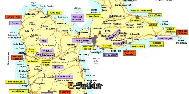 Carte de Guadeloupe touristique
