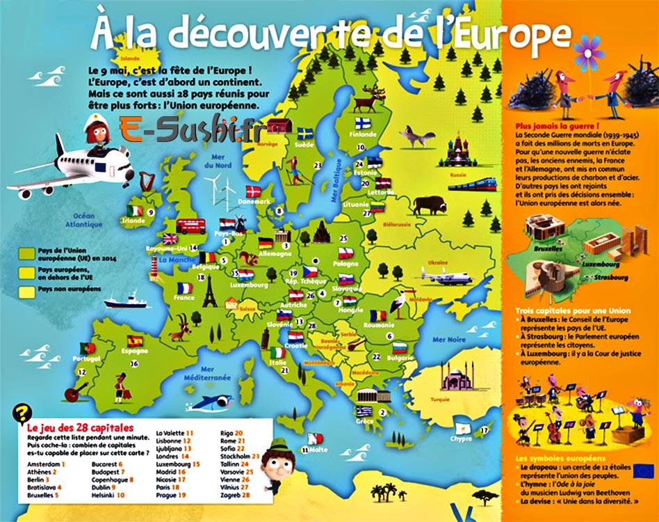 europe carte avec symboles des pays arts et voyages. Black Bedroom Furniture Sets. Home Design Ideas