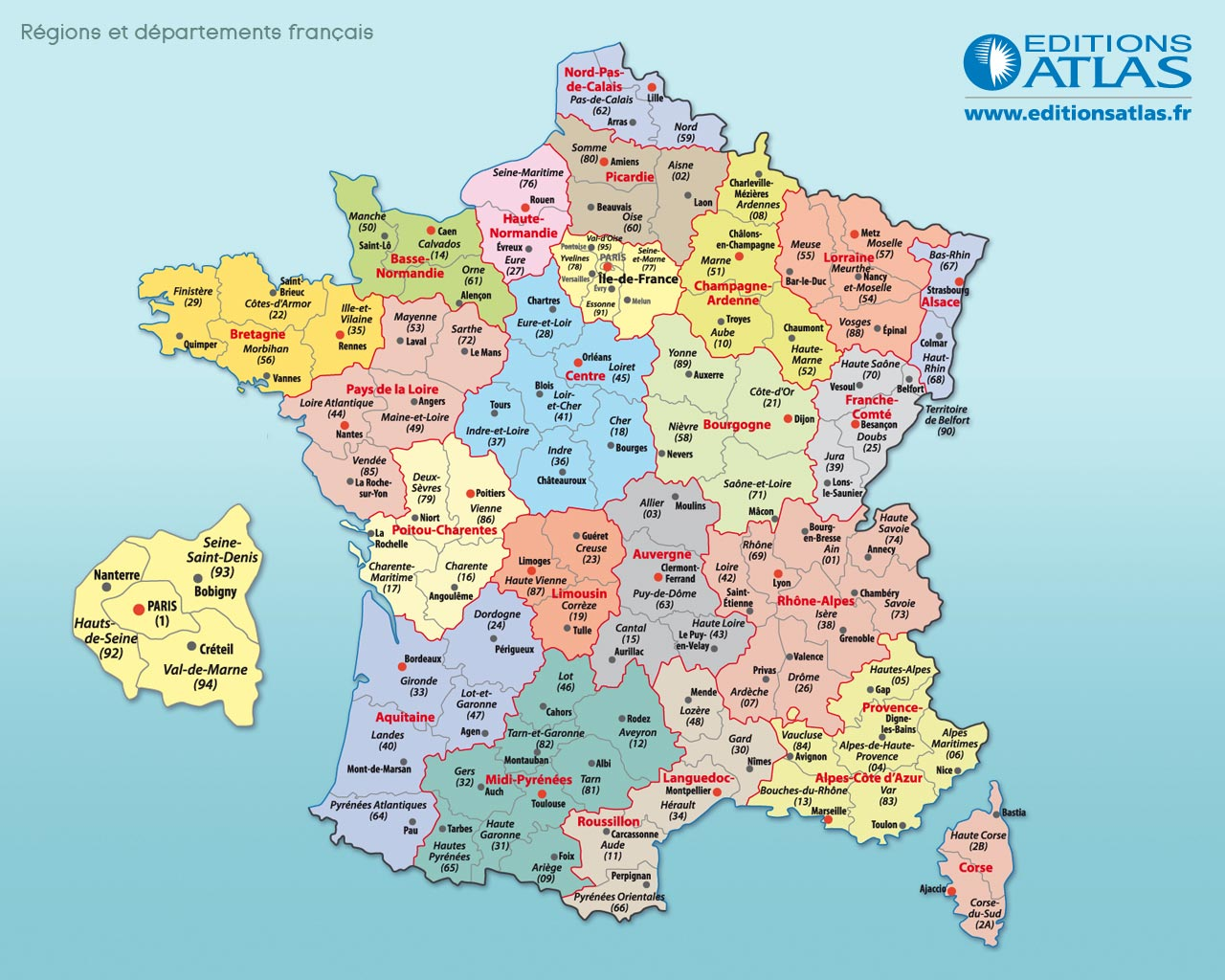 departements francais carte