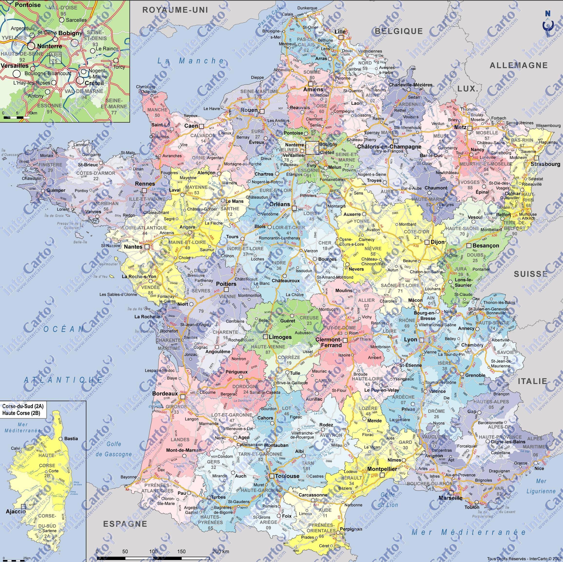 carte de france villes régions