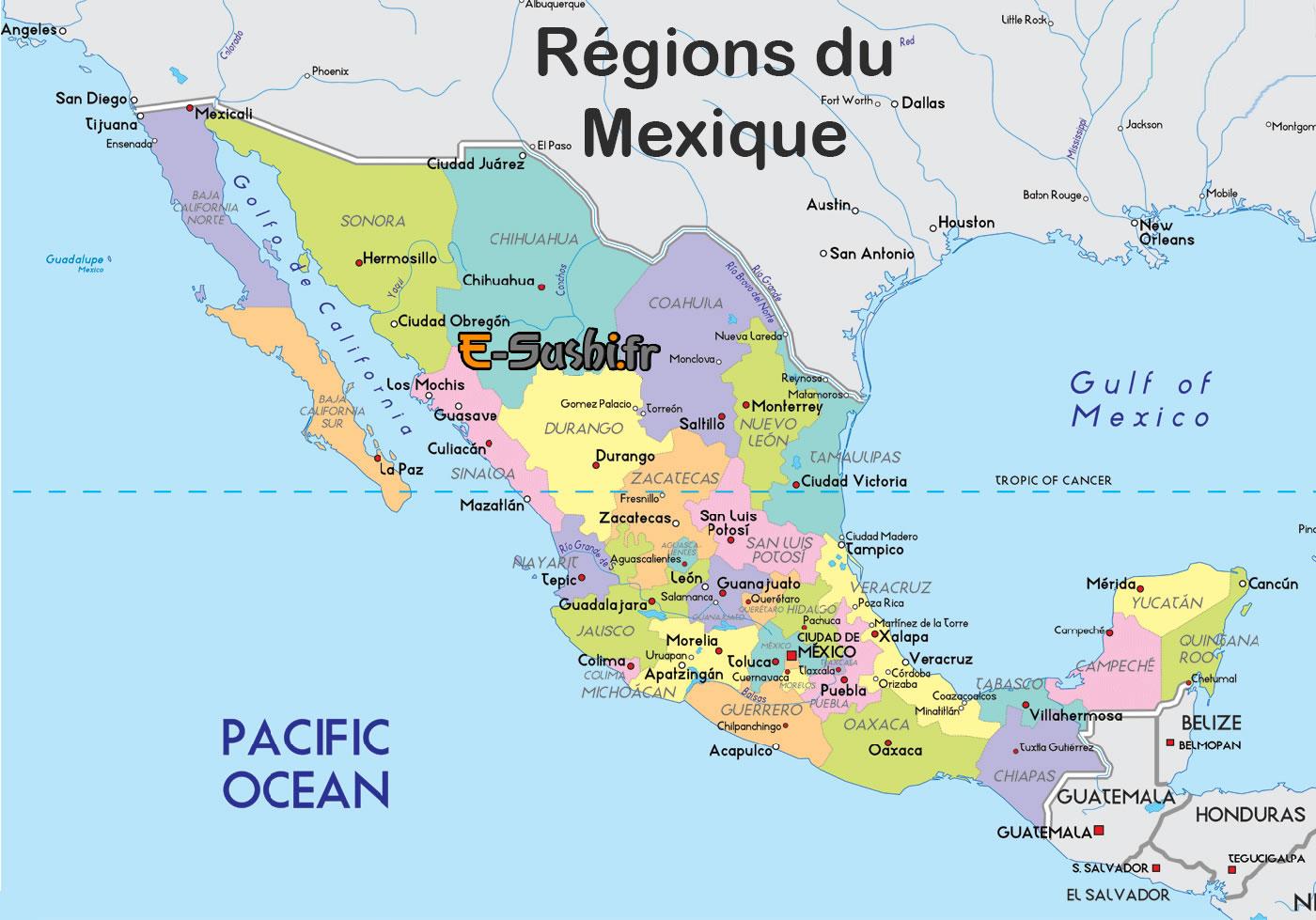 Carte Mexique   Plan géographique | Arts et Voyages